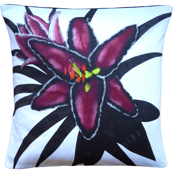 Night Flowers Lily cushion - Blanc White