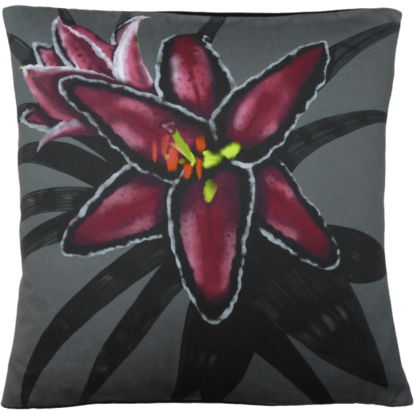 Night Flowers Lily cushion - Grey
