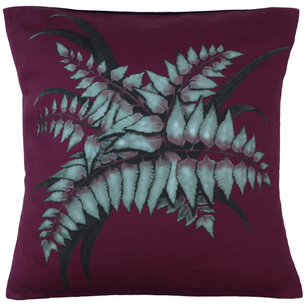 Night Flowers Fern cushion - Claret