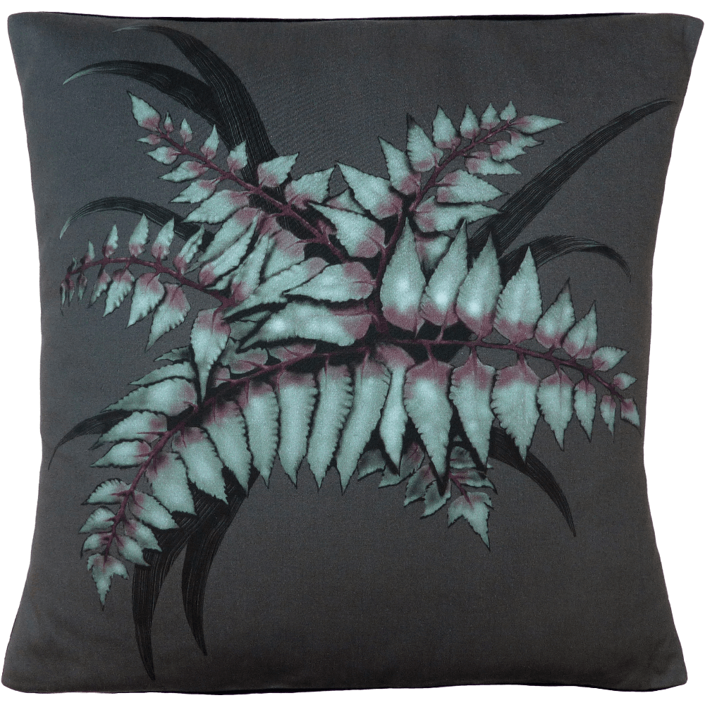 Night Flowers Fern cushion - Grey