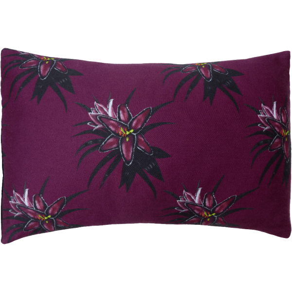 Night Flowers Lily Cushion Boudoir size - Claret