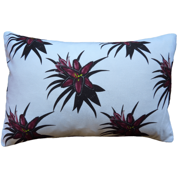 Night Flowers Lily Cushion Boudoir Size - Blanc White