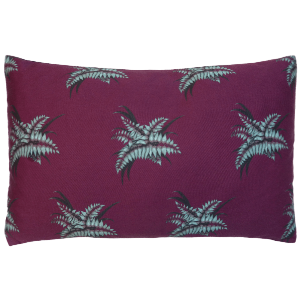 Night Flowers Fern Cushion Boudoir size - Claret
