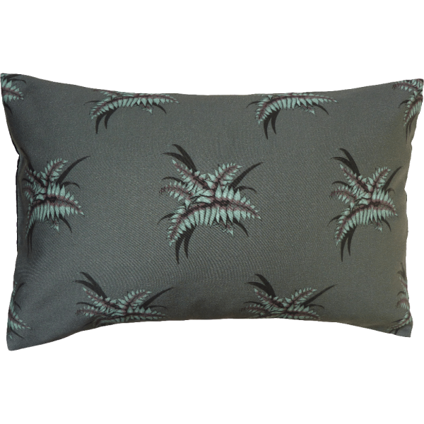 Night Flowers Fern Cushion Boudoir size - Grey