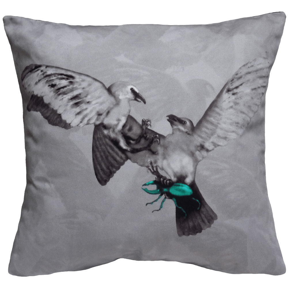 Hitchcock Birds Cushion - Grey / Teal