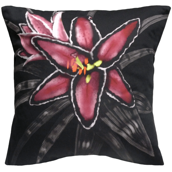 Night Flowers Lily cushion - Noir Black