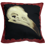 Alas Poor Birdy Cushion In Blood Red