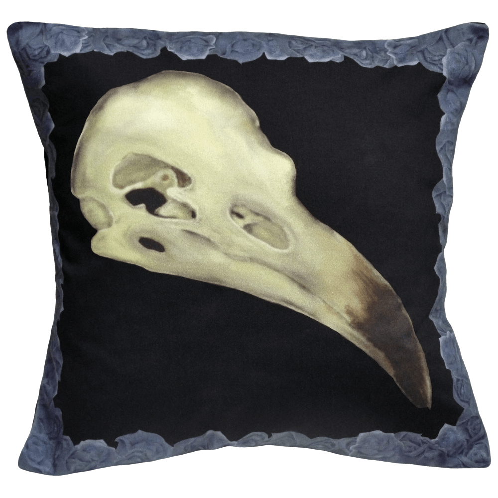 Alas Poor Birdy Cushion In Blue Murder
