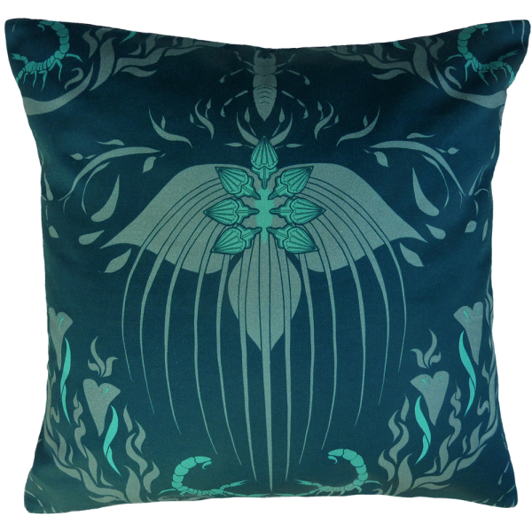 Damask Of Satan Cushion ~ in Blue Murder
