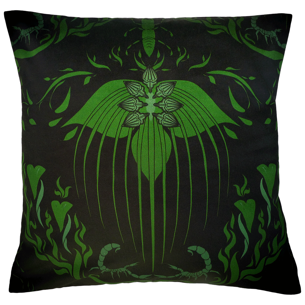 Damask Of Satan Cushion ~ in POISON GREEN