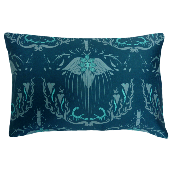 Damask Of Satan Cushion Boudoir Size ~ in BLUE MURDER