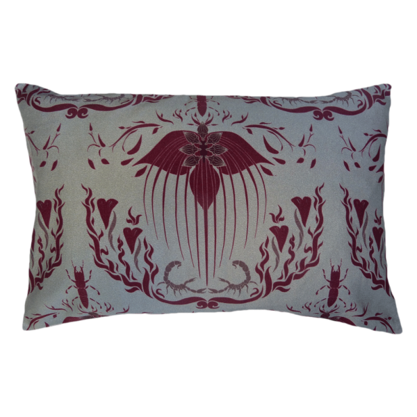 Damask Of Satan Cushion Boudoir Size~ in REDRUM
