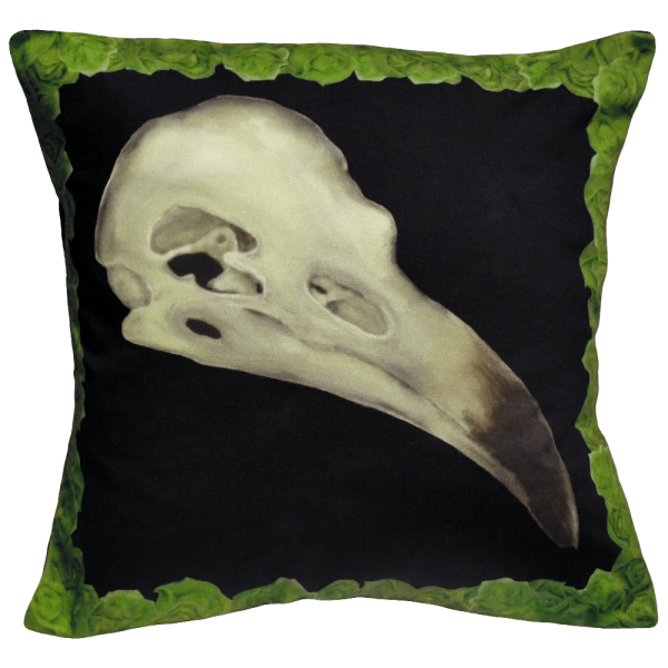 Alas Poor Birdy Cushion In Chartreuse Green