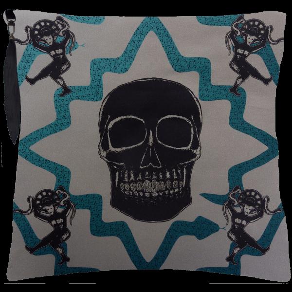 Juju Snake Priest Cushion- Grey / Blue