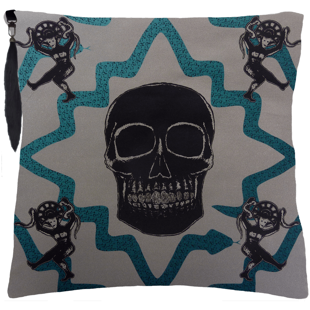 Juju Snake Priest Cushion- Grey / Blue