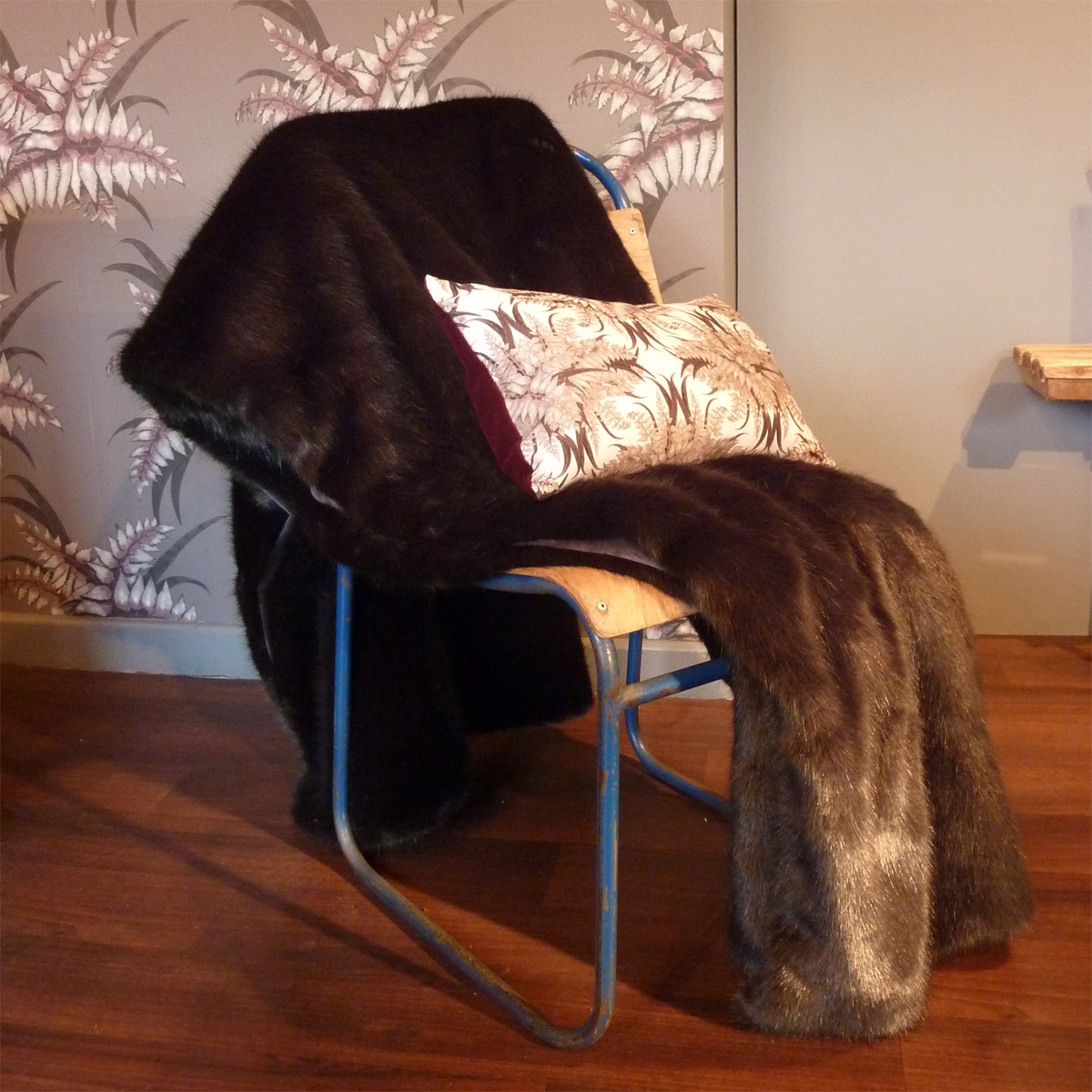 Large Faux Fur Throw Charcoal